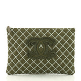 Chanel O Case Clutch Quilted Tweed Large Green 3612403