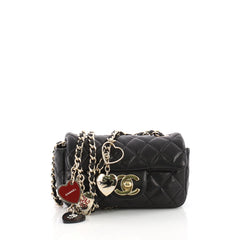Chanel Valentine Hearts Flap Bag Quilted Lambskin Extra Mini Black 3612802