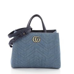 Gucci Pearly GG Marmont Tote Matelasse Denim Small Blue 3613117