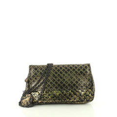 Bottega Veneta Expandable Chain Crossbody Bag Intrecciomirage Leather Small Gold 3613128