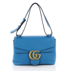 Gucci GG Marmont Shoulder Bag Leather Small Blue 3613901