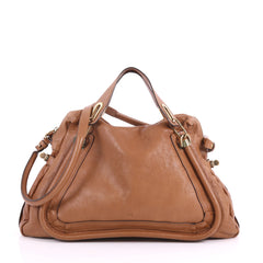 Chloe Paraty Top Handle Bag Leather Large Brown 3614901