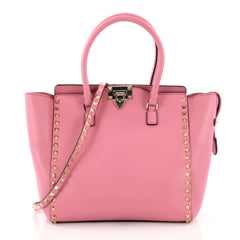 Valentino Rockstud Tote Rigid Leather Medium Pink 3615101