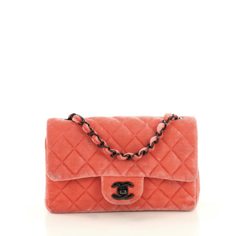 898492e2431 Buy Chanel Classic Single Flap Bag Quilted Velvet Mini Red 3615105 – Rebag