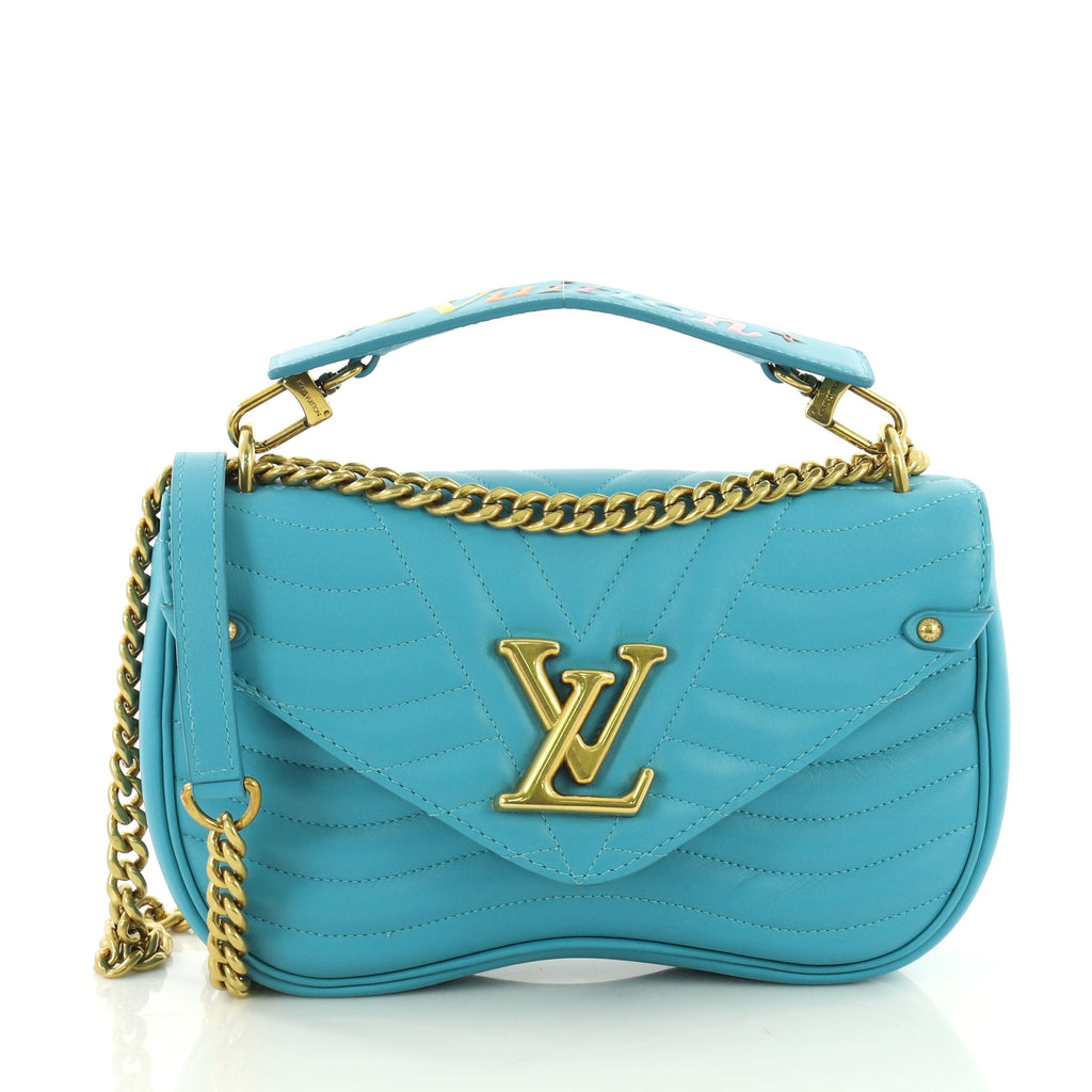 389584e229d0 Buy Louis Vuitton New Wave Chain Bag Quilted Leather MM Blue 3615201 ...
