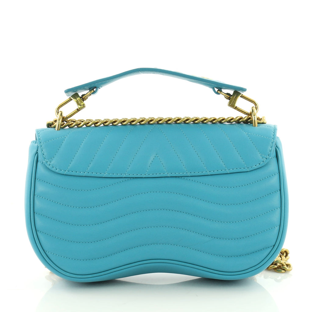 Buy Louis Vuitton New Wave Chain Bag Quilted Leather MM Blue 3615201 ... 55731be4c2