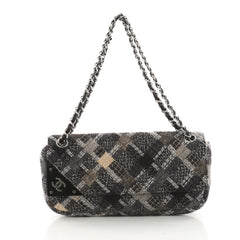 Chanel CC Tab Flap Shoulder Bag Tweed East West Black 3615501