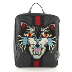 Gucci Angry Cat Web Backpack GG Coated Canvas with Applique Medium Black 3616901