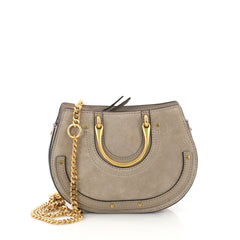 Chloe Pixie Bag Suede with Leather Mini Neutral 3618702
