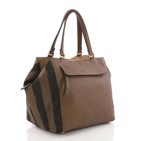 9f6c3de590 Fendi Boxy Tote Leather with Pequin Striped Canvas Large 3620106 – Rebag