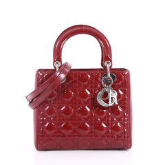 Christian Dior Lady Dior Handbag Cannage Quilt Patent Red 3620609