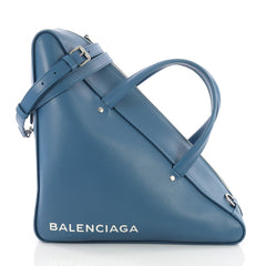 Balenciaga Triangle Duffle Bag Leather Medium Blue 3622501