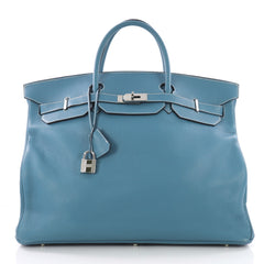 Birkin Voyage Blue Jean Clemence with Palladium Hardware 50