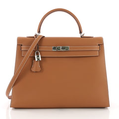 Hermes Kelly Handbag Brown Chamonix with Palladium Hardware 35 Brown 3623216