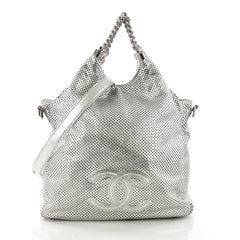 Chanel Rodeo Drive Hobo Perforated Leather Large Silver 3623233