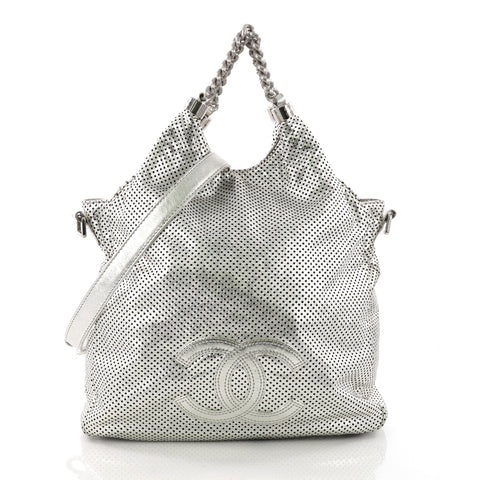 5149092b9bc9 Chanel Rodeo Drive Hobo Perforated Leather Large Silver 3623233 – Rebag