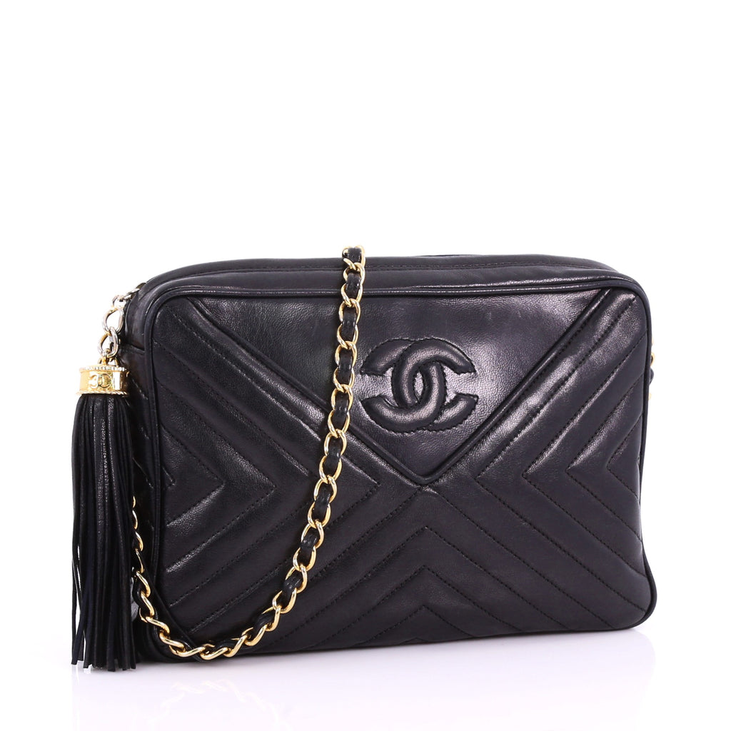 85badffe3e37d2 Chanel Vintage Chevron Camera Bag Quilted Leather Small 3623259 – Rebag