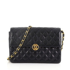 7dfa1d952c84 Chanel Vintage CC Turn Lock Chain Flap Bag Quilted Lambskin Small Blue  3623266