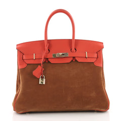 Hermes Birkin Handbag Brown Grizzly and Red Swift with 3624301