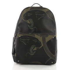 Valentino Backpack Canvas with Applique Large Green 3625901