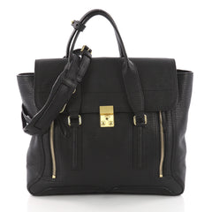 3.1 Phillip Lim Pashli Satchel Leather Large Black 3629102