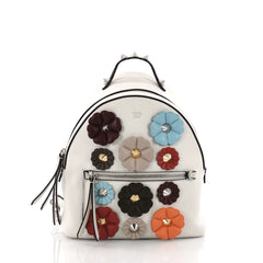 Fendi By The Way Flowerland Backpack Embellished Leather White 3630801