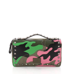 Valentino Rockstud Travel Wallet Camo Leather and Canvas Green 3631208