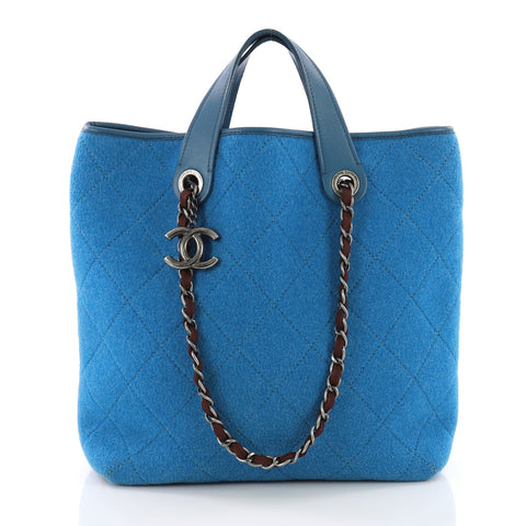 30a1194a4257 Buy Chanel Pop Tote Quilted Felt Medium Blue 3631209 – Rebag