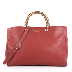 Gucci Bamboo Shopper Tote Leather Large Red 3631214