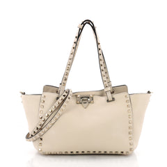 Valentino Rockstud Tote Pebbled Leather Small Neutral 3632402