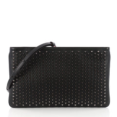 Christian Louboutin Loubiposh Clutch Spiked Leather Black 3634711