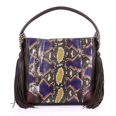 Christian Louboutin Eloise Fringe Hobo Python with Leather Medium 3634713