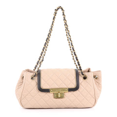 East West Mademoiselle Accordion Flap Bag Quilted Lambskin Small