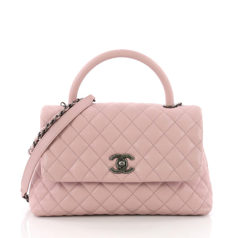 Chanel Coco Top Handle Bag Quilted Caviar Small Pink 3634747 – Rebag c24bb5636