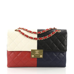 Chanel CC Clasp Chain Flap Bag Multicolor Quilted Black 3634903