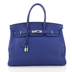 Hermes Birkin Handbag Blue Clemence with Palladium Hardware 35