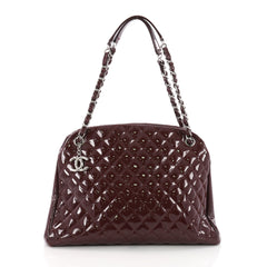 Chanel Just Mademoiselle Handbag Quilted Patent Large 3640603