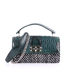 Miu Miu Cleo Top Handle Bag Matelasse Leather with Woven 3641601