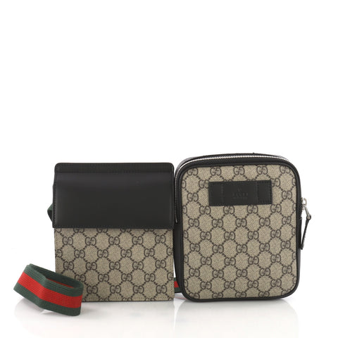 a56d6008c7f711 Gucci Double Web Belt Bag GG Coated Canvas with Leather 3642701 – Rebag