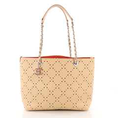 Chanel Shopping Tote Perforated Caviar Small Neutral 3647201