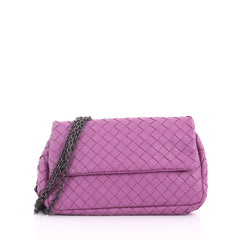 Bottega Veneta Expandable Chain Crossbody Bag Intrecciato Nappa Small Purple 36490117