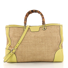 Gucci Bamboo Shopper Tote Straw Large Yellow 36490148