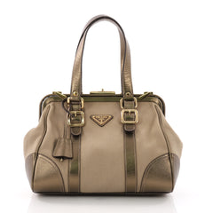Prada Canapa Frame Satchel Canvas with Leather Medium Gold 36490160