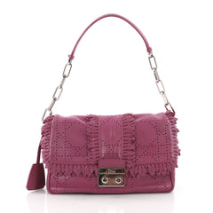 Christian Dior New Lock Ruffle Flap Bag Perforated Leather Small Purple 3649038