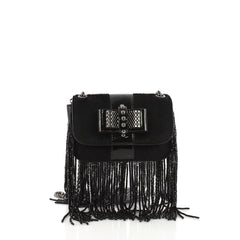Christian Louboutin Fringe Sweet Charity Crossbody Bag Pony Hair Mini Black 3649055