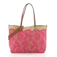 Valentino Glam Rockstud Reversible Tote Lace and Canvas Medium Neutral 3649606