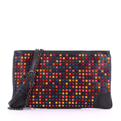 Christian Louboutin Loubiposh Clutch Spiked Leather Black 3649904