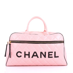 Chanel Vintage Logo Bowler Bag Quilted Lambskin Large 3651201