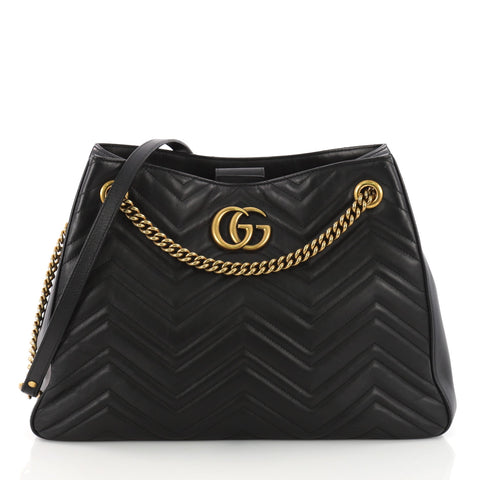 784295b7a28 Gucci GG Marmont Chain Shoulder Bag Matelasse Leather Black 3651203 – Rebag