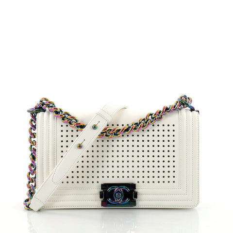Chanel Boy Flap Bag LED Perforated Leather Small White 3651401 – Rebag b63ca628a657b